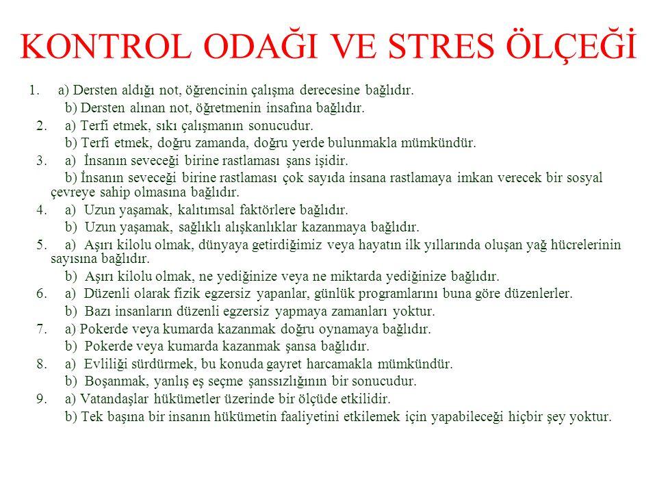 KONTROL ODAĞI VE STRES ÖLÇEĞİ