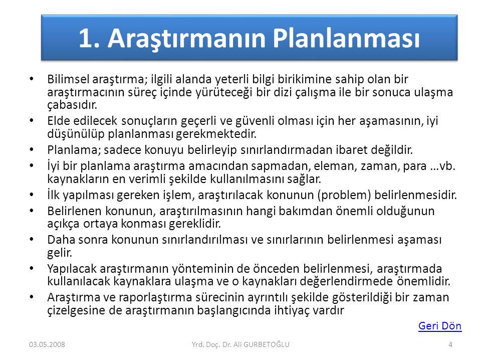 1. Araştırmanın Planlanması