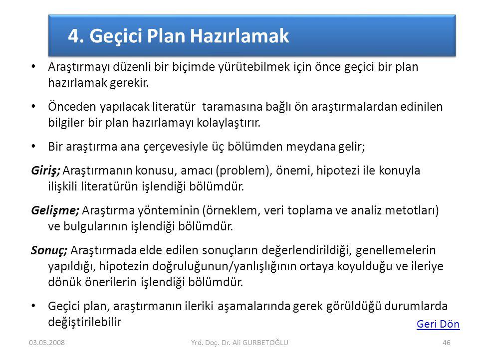 4. Geçici Plan Hazırlamak
