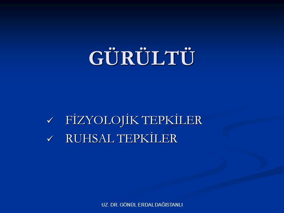FİZYOLOJİK TEPKİLER RUHSAL TEPKİLER