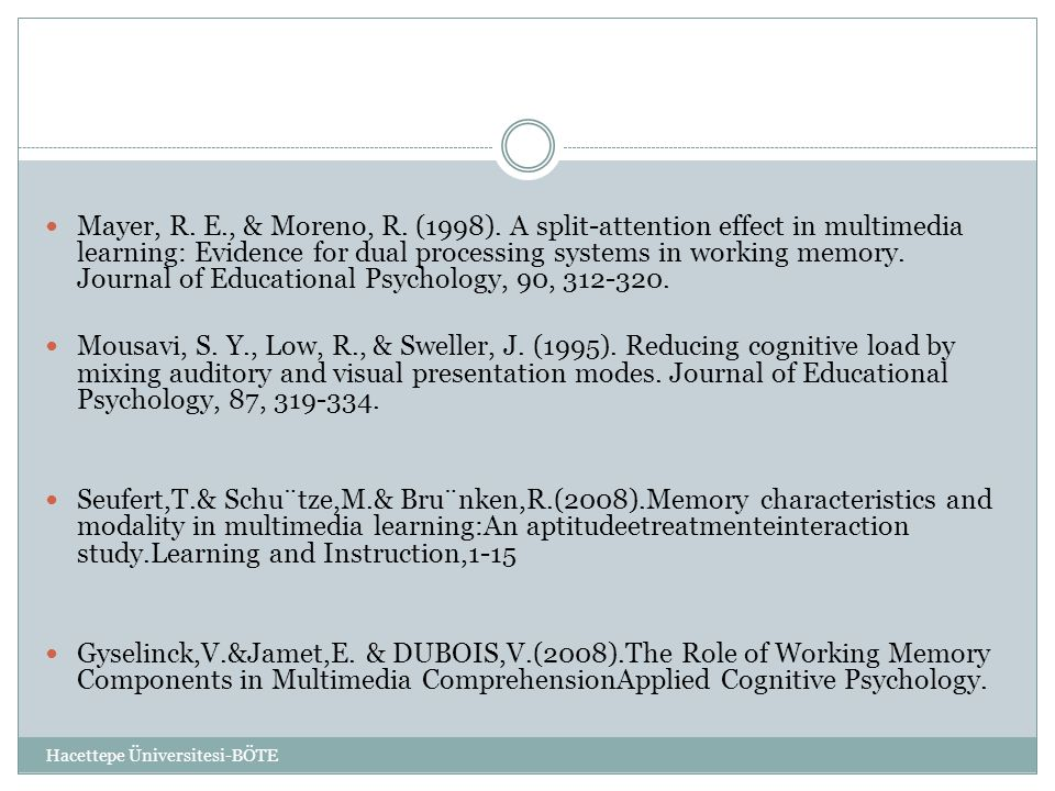 Mayer, R. E., & Moreno, R. (1998). A split-attention effect in multimedia learning: Evidence for dual processing systems in working memory. Journal of Educational Psychology, 90, 312-320.