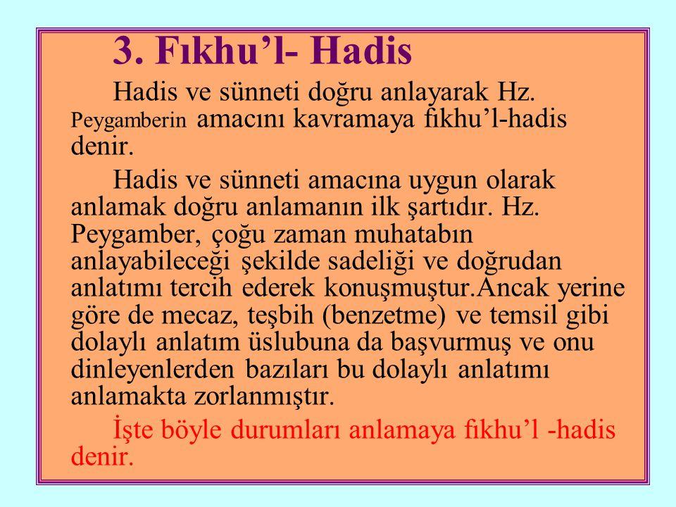 3. Fıkhu'l- Hadis Hadis ve sünneti doğru anlayarak Hz. Peygamberin amacını kavramaya fıkhu'l-hadis denir.