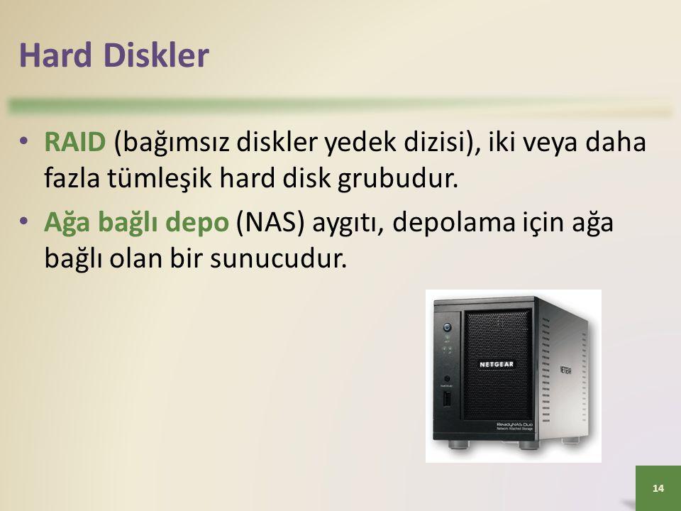 Hard Diskler RAID (bağımsız diskler yedek dizisi), iki veya daha fazla tümleşik hard disk grubudur.
