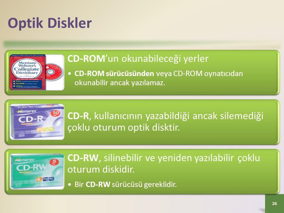 Optik Diskler CD-ROM'un okunabileceği yerler. CD-ROM sürücüsünden veya CD-ROM oynatıcıdan okunabilir ancak yazılamaz.
