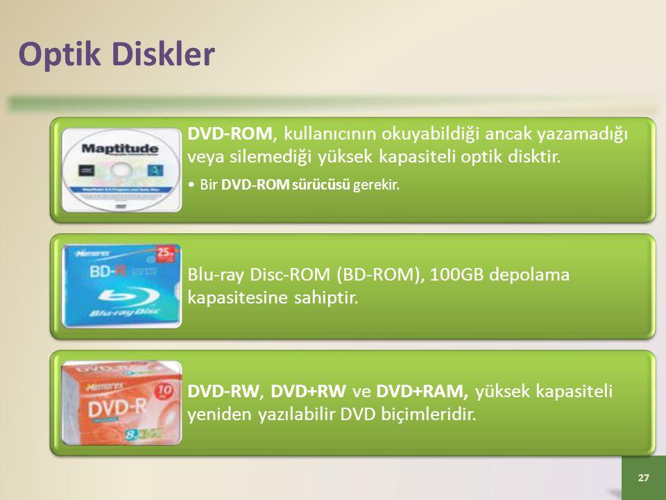 Optik Diskler DVD-ROM, kullanıcının okuyabildiği ancak yazamadığı veya silemediği yüksek kapasiteli optik disktir.