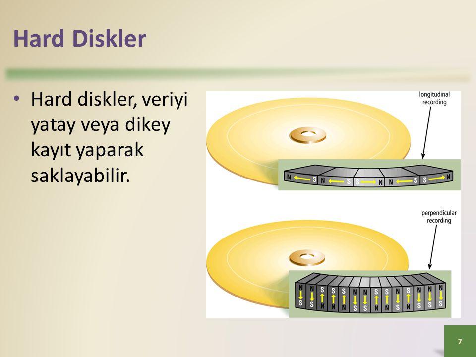 Hard Diskler Hard diskler, veriyi yatay veya dikey kayıt yaparak saklayabilir.