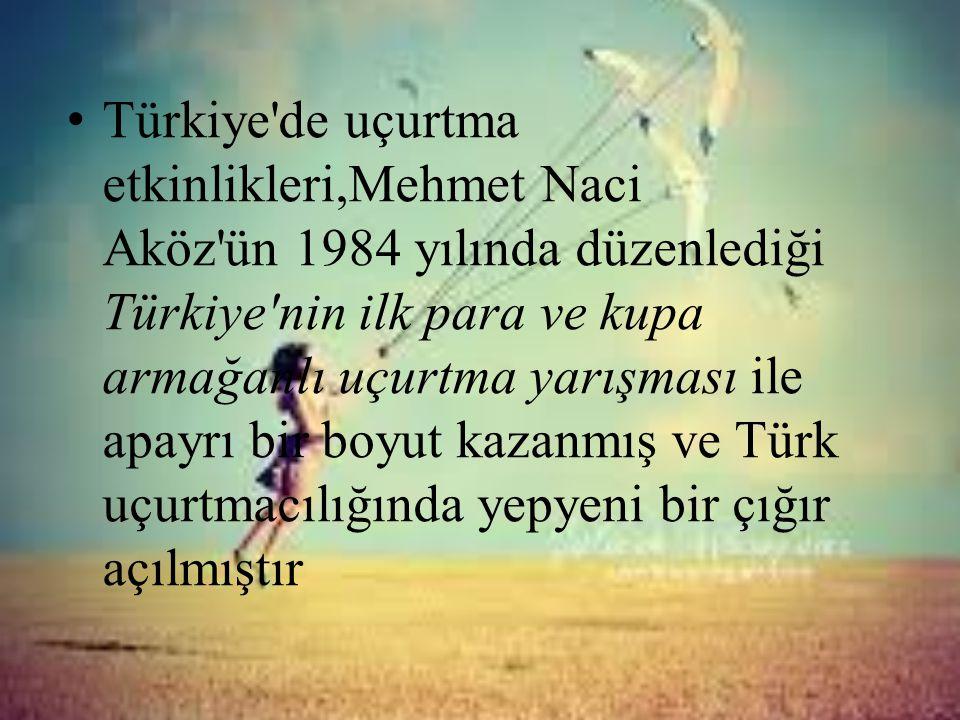 Türkiye de uçurtma etkinlikleri,Mehmet Naci Aköz ün 1984 yılında düzenlediği Türkiye nin ilk para ve kupa armağanlı uçurtma yarışması ile apayrı bir boyut kazanmış ve Türk uçurtmacılığında yepyeni bir çığır açılmıştır