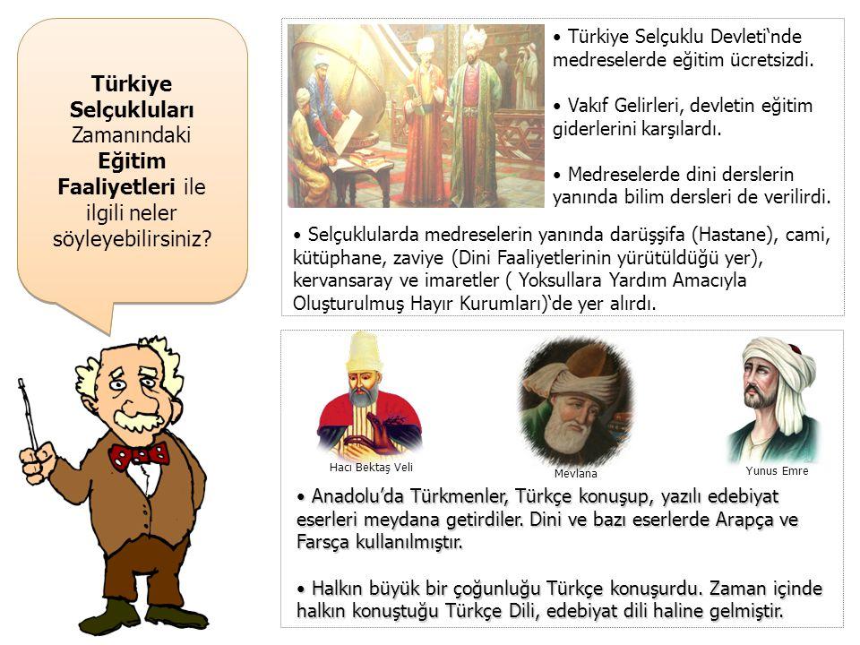 Türkiye Selçukluları Zamanındaki Eğitim Faaliyetleri ile ilgili neler söyleyebilirsiniz