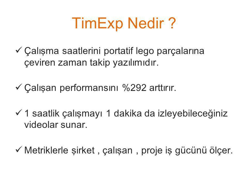 TimExp Nedir Çalışma saatlerini portatif lego parçalarına çeviren zaman takip yazılımıdır. Çalışan performansını %292 arttırır.