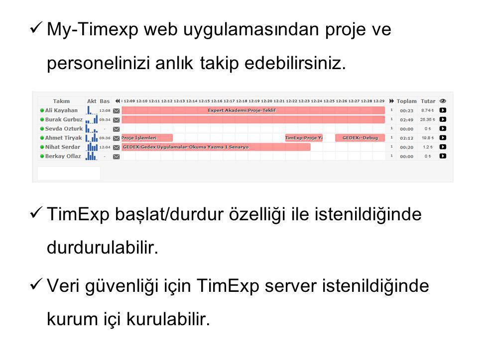 My-Timexp web uygulamasından proje ve personelinizi anlık takip edebilirsiniz.