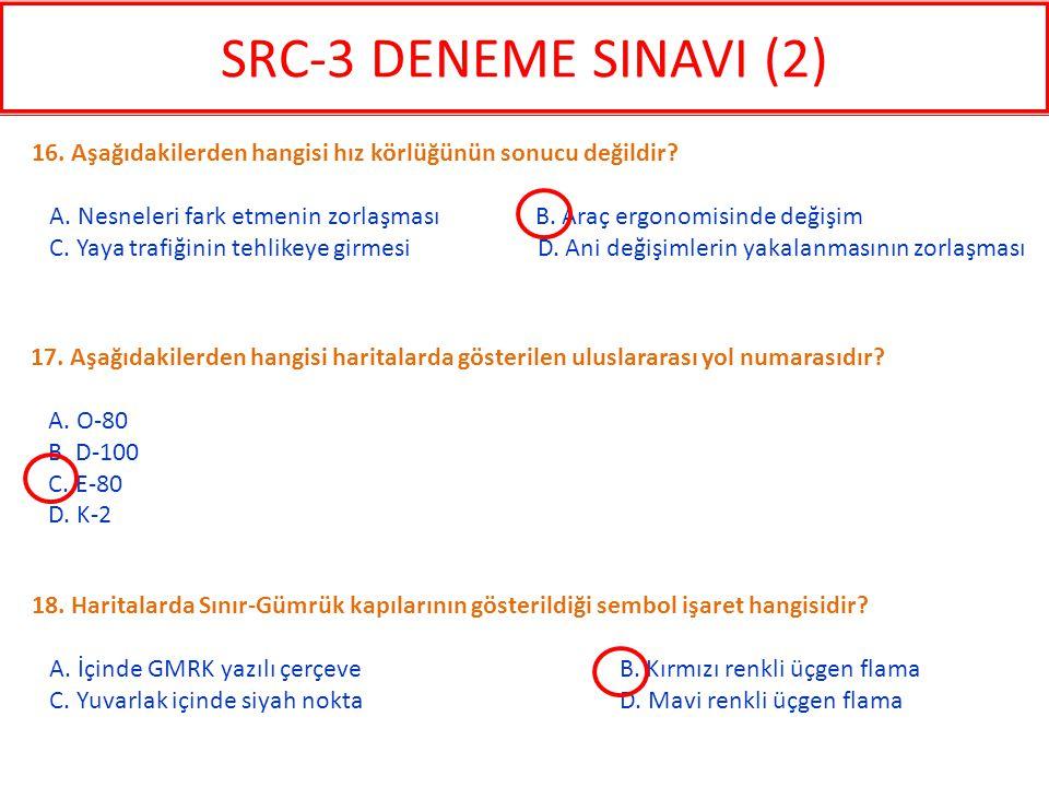 SRC-3 DENEME SINAVI (2) 16. Aşağıdakilerden hangisi hız körlüğünün sonucu değildir