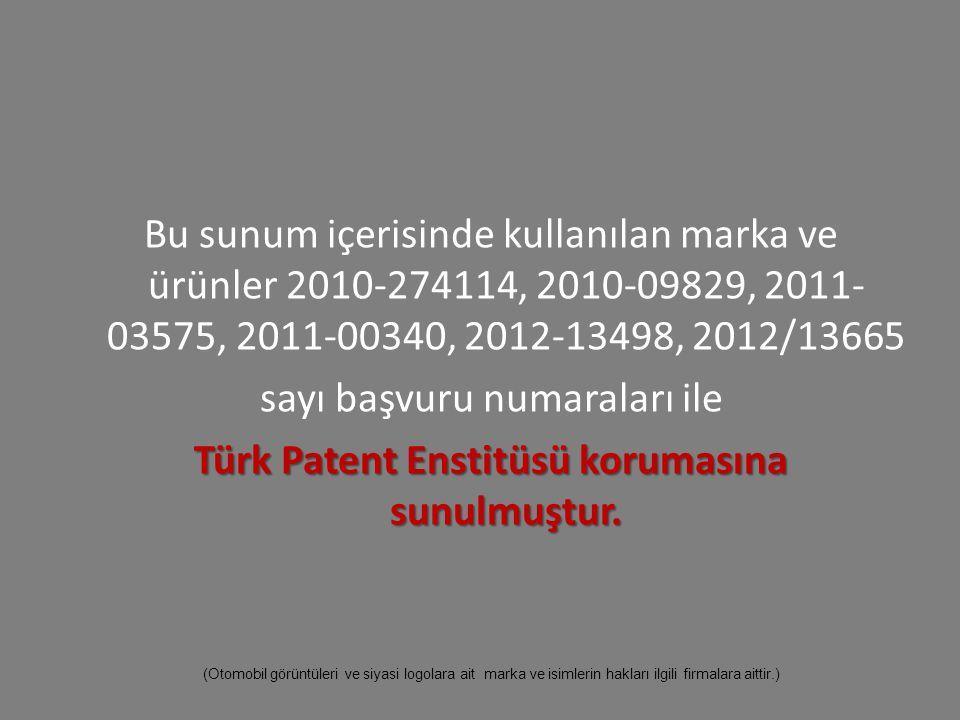 Bu sunum içerisinde kullanılan marka ve ürünler 2010-274114, 2010-09829, 2011- 03575, 2011-00340, 2012-13498, 2012/13665 sayı başvuru numaraları ile Türk Patent Enstitüsü korumasına sunulmuştur.