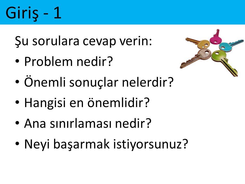 Giriş - 1 Şu sorulara cevap verin: Problem nedir