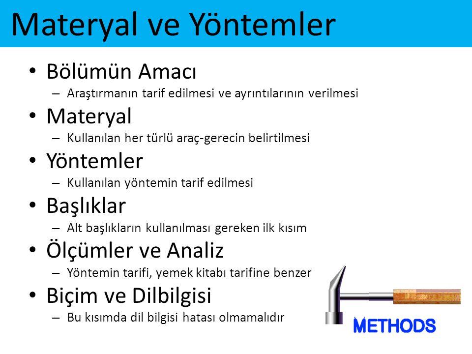 Materyal ve Yöntemler Bölümün Amacı Materyal Yöntemler Başlıklar