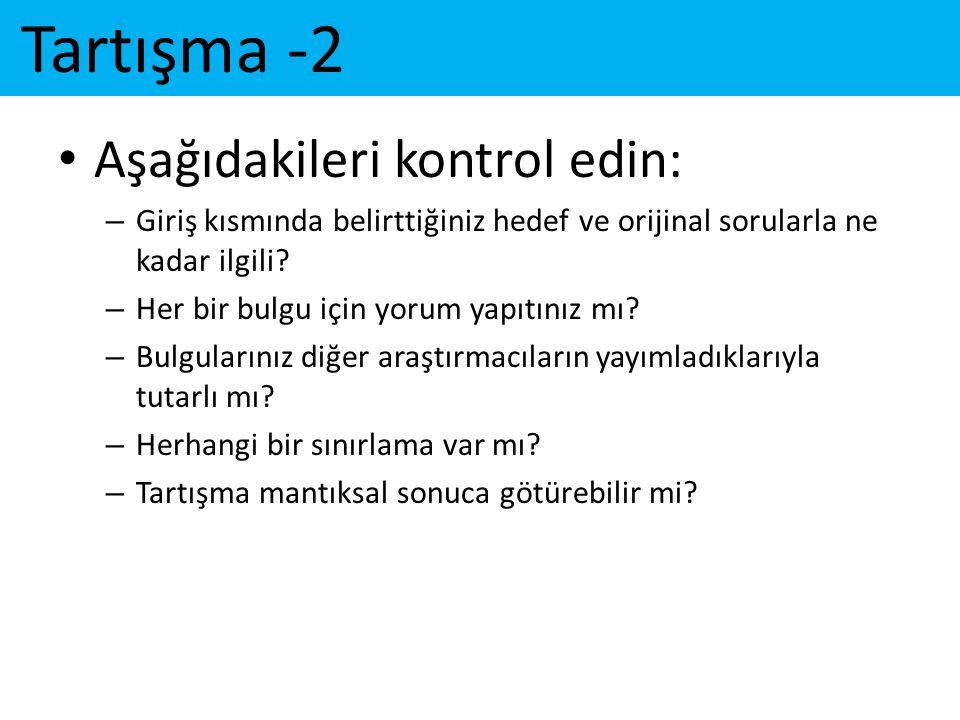 Tartışma -2 Aşağıdakileri kontrol edin: