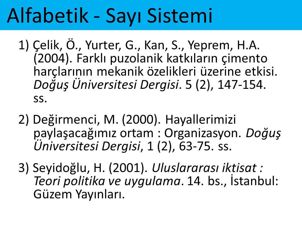 Alfabetik - Sayı Sistemi