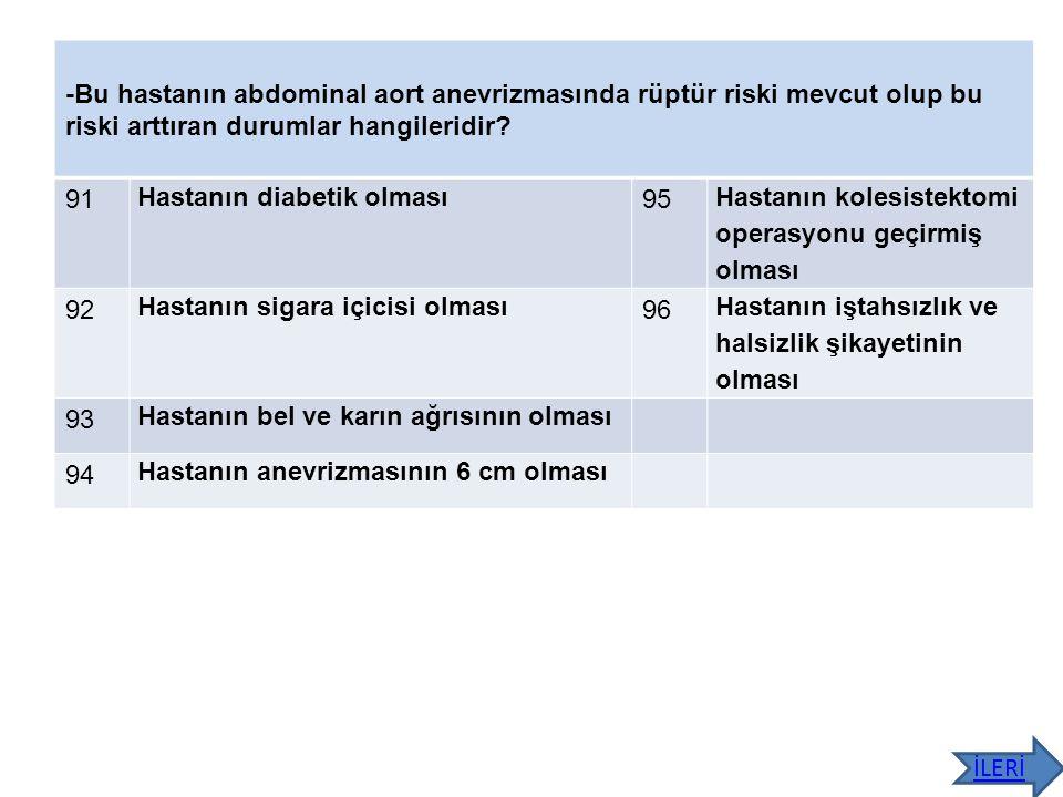 -Bu hastanın abdominal aort anevrizmasında rüptür riski mevcut olup bu riski arttıran durumlar hangileridir