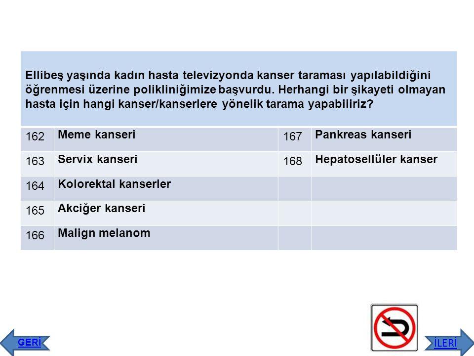 Hepatosellüler kanser 164 Kolorektal kanserler 165 Akciğer kanseri 166