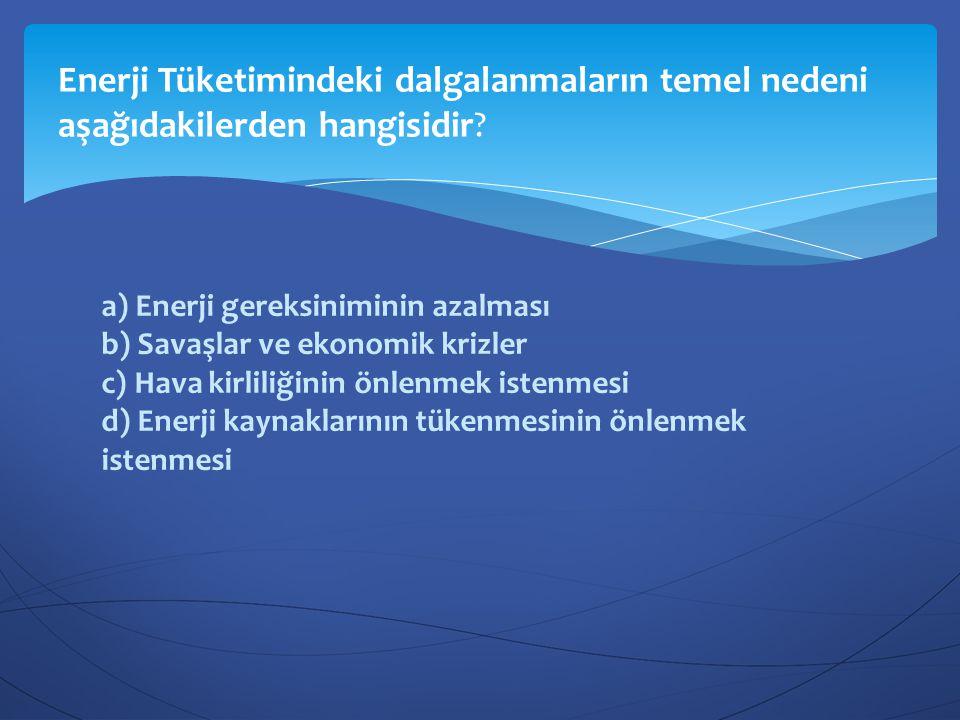Enerji Tüketimindeki dalgalanmaların temel nedeni aşağıdakilerden hangisidir