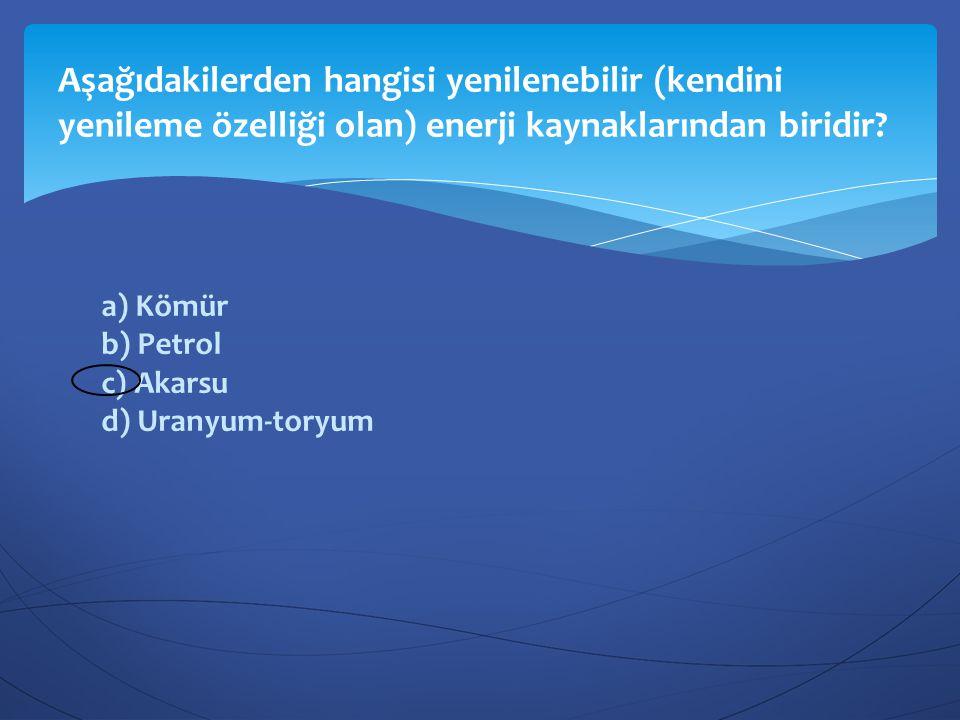 Aşağıdakilerden hangisi yenilenebilir (kendini yenileme özelliği olan) enerji kaynaklarından biridir