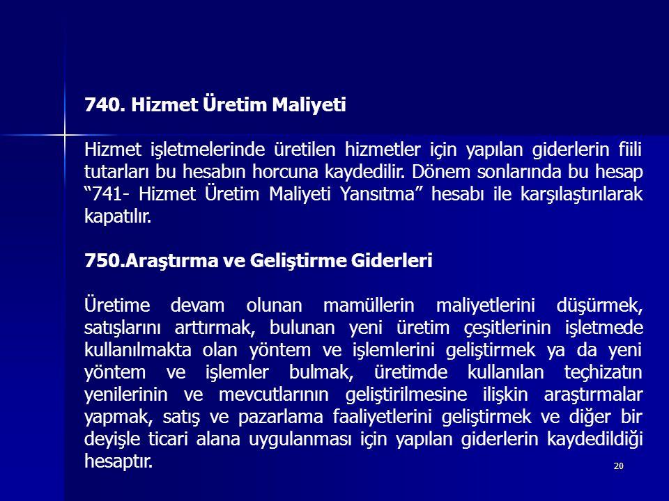 740. Hizmet Üretim Maliyeti