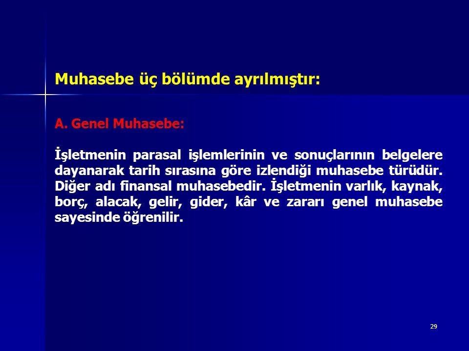 Muhasebe üç bölümde ayrılmıştır: