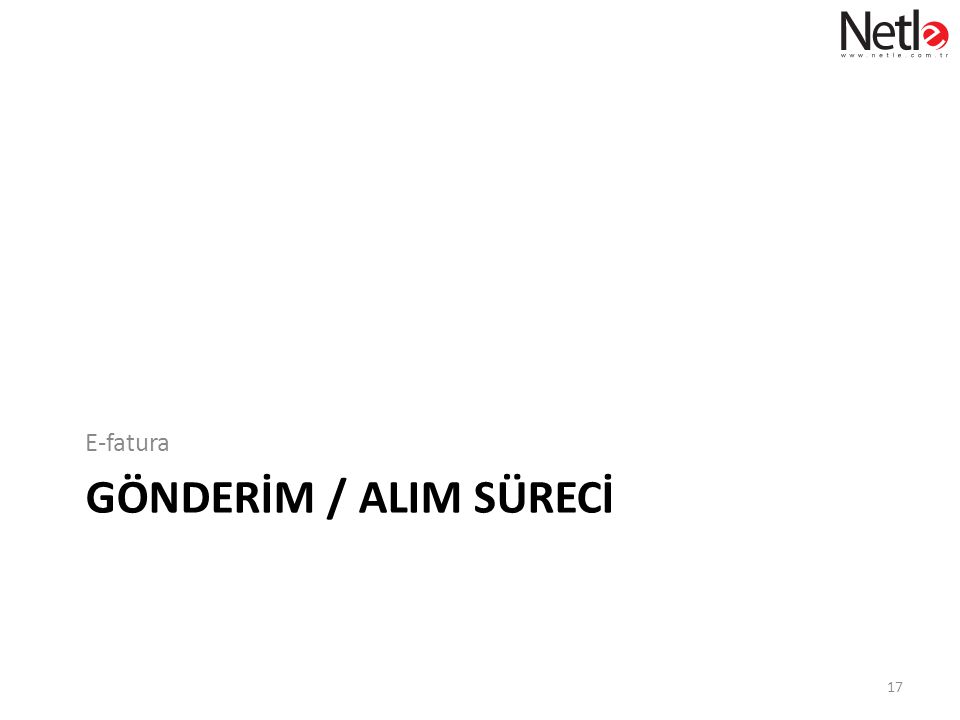 E-fatura GönderİM / ALIM sürecİ