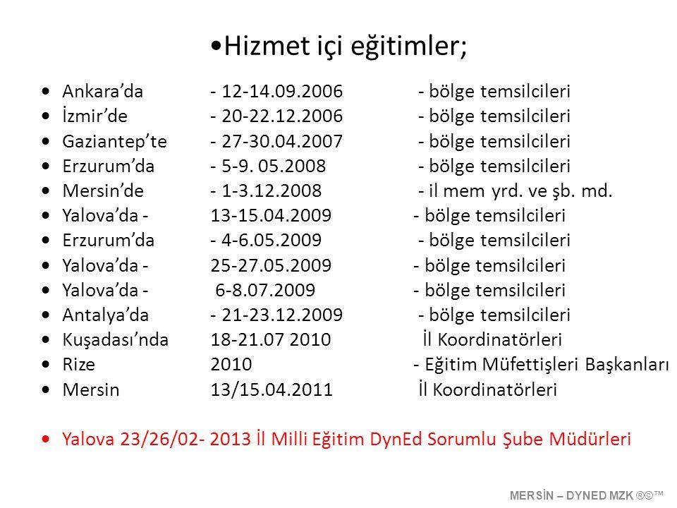 Hizmet içi eğitimler; Ankara'da - 12-14.09.2006 - bölge temsilcileri