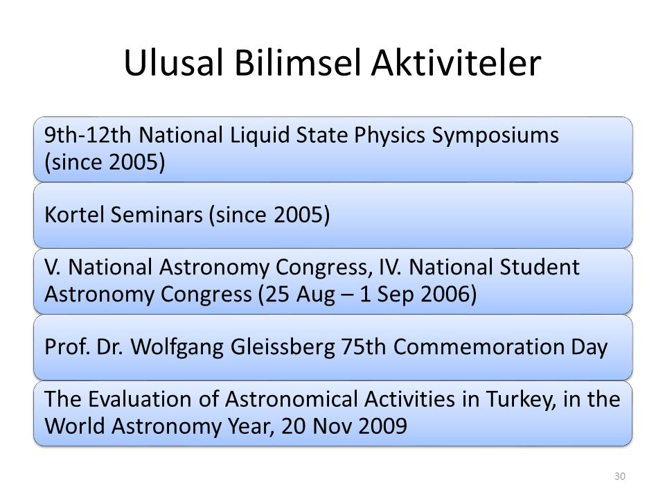 Ulusal Bilimsel Aktiviteler