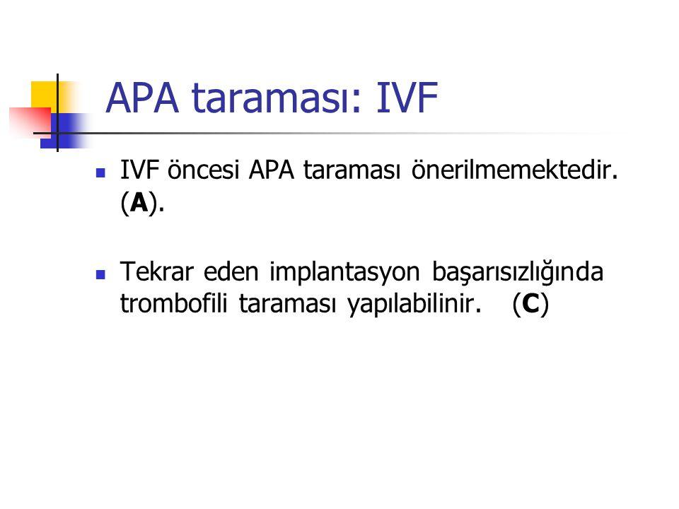 APA taraması: IVF IVF öncesi APA taraması önerilmemektedir. (A).