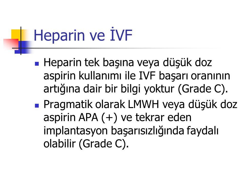 Heparin ve İVF Heparin tek başına veya düşük doz aspirin kullanımı ile IVF başarı oranının artığına dair bir bilgi yoktur (Grade C).