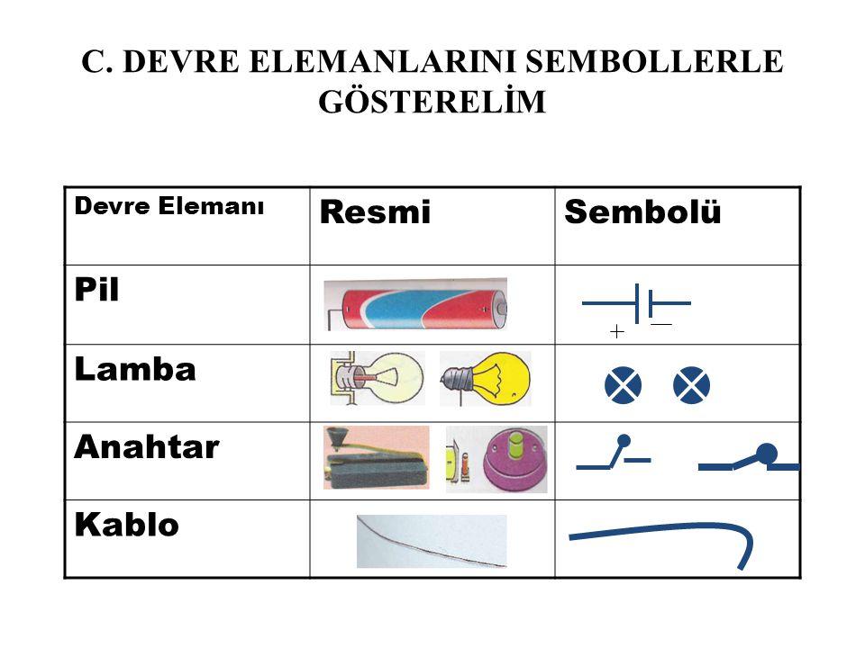 C. DEVRE ELEMANLARINI SEMBOLLERLE GÖSTERELİM