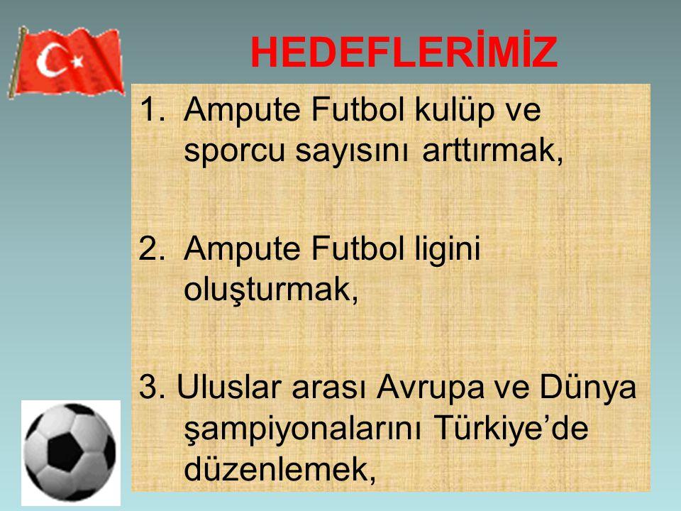 HEDEFLERİMİZ Ampute Futbol kulüp ve sporcu sayısını arttırmak,