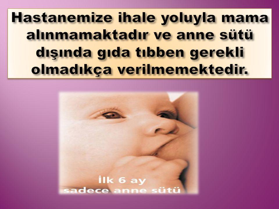 Hastanemize ihale yoluyla mama alınmamaktadır ve anne sütü dışında gıda tıbben gerekli olmadıkça verilmemektedir.