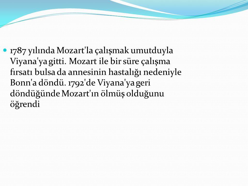1787 yılında Mozart la çalışmak umutduyla Viyana ya gitti