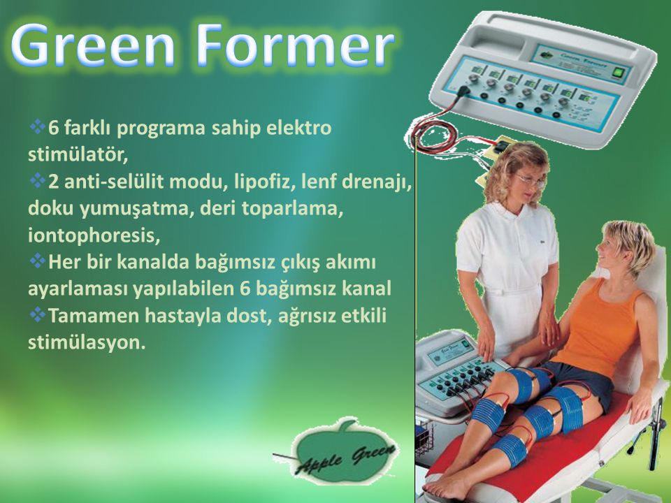 Green Former 6 farklı programa sahip elektro stimülatör,
