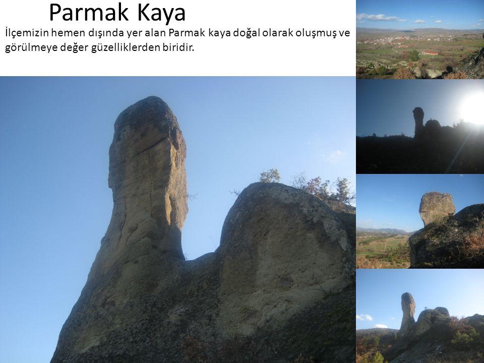Parmak Kaya İlçemizin hemen dışında yer alan Parmak kaya doğal olarak oluşmuş ve görülmeye değer güzelliklerden biridir.