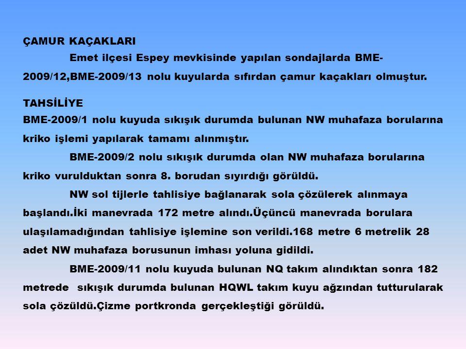 ÇAMUR KAÇAKLARI Emet ilçesi Espey mevkisinde yapılan sondajlarda BME-2009/12,BME-2009/13 nolu kuyularda sıfırdan çamur kaçakları olmuştur.