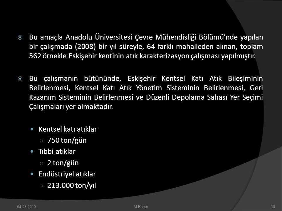 Bu amaçla Anadolu Üniversitesi Çevre Mühendisliği Bölümü'nde yapılan bir çalışmada (2008) bir yıl süreyle, 64 farklı mahalleden alınan, toplam 562 örnekle Eskişehir kentinin atık karakterizasyon çalışması yapılmıştır.