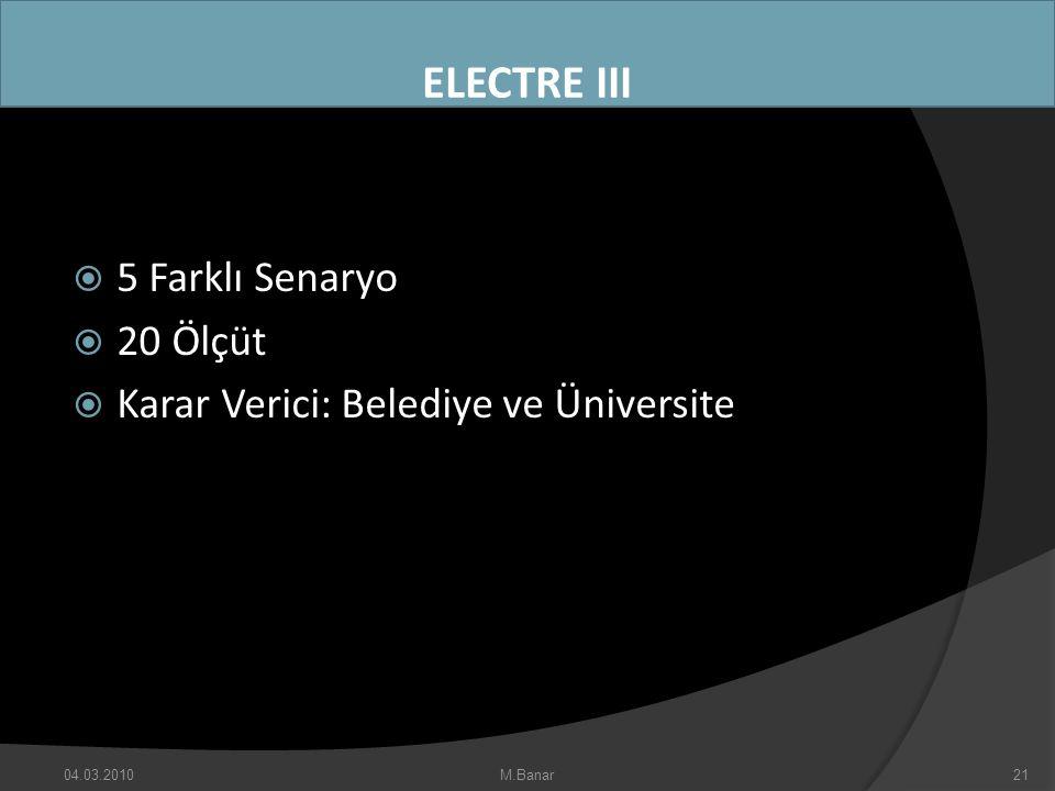 ELECTRE III 5 Farklı Senaryo 20 Ölçüt