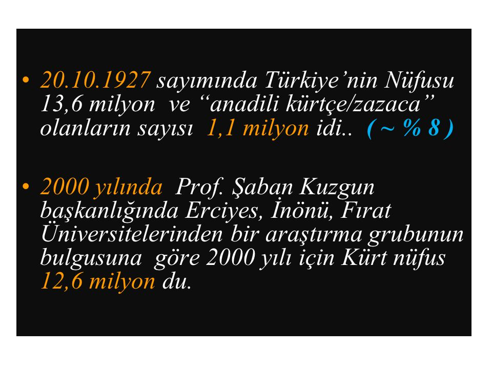 20.10.1927 sayımında Türkiye'nin Nüfusu 13,6 milyon ve anadili kürtçe/zazaca olanların sayısı 1,1 milyon idi.. ( ~ % 8 )