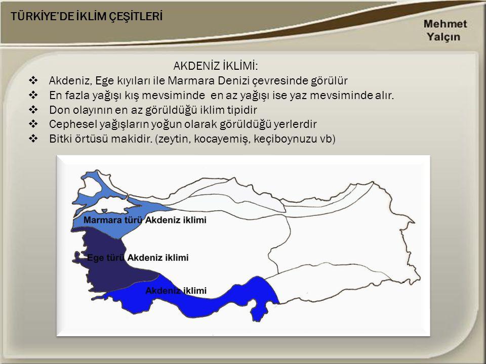 TÜRKİYE'DE İKLİM ÇEŞİTLERİ