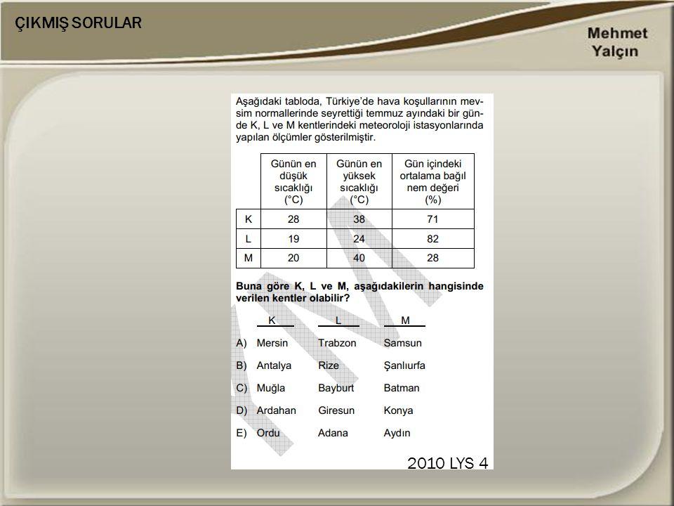 ÇIKMIŞ SORULAR 2010 LYS 4