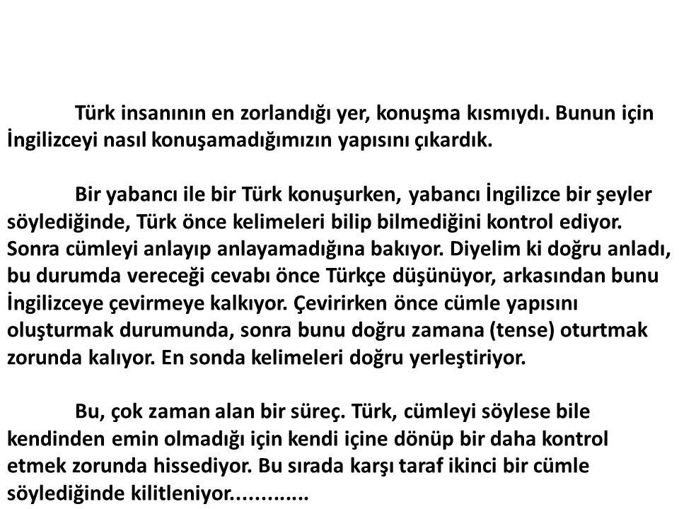 Türk insanının en zorlandığı yer, konuşma kısmıydı