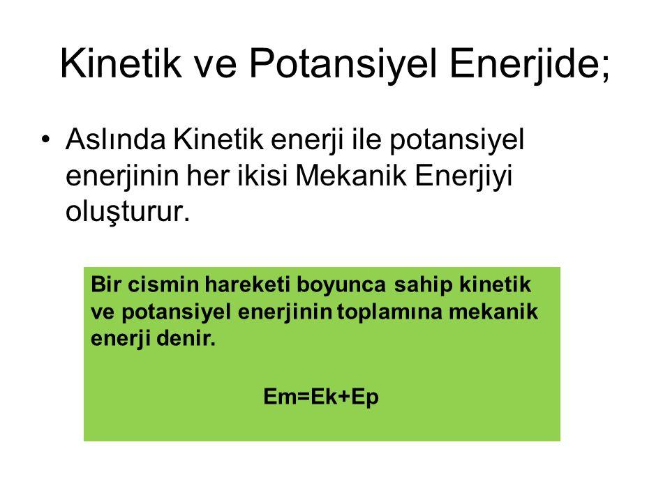 Kinetik ve Potansiyel Enerjide;
