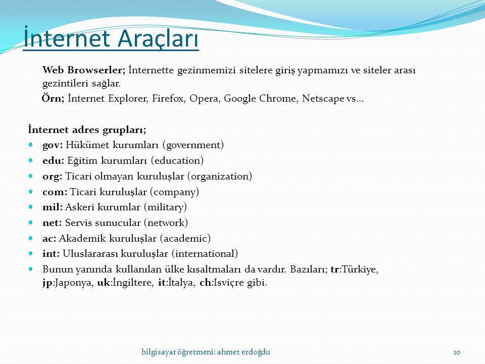 İnternet Araçları Web Browserler; İnternette gezinmemizi sitelere giriş yapmamızı ve siteler arası gezintileri sağlar.