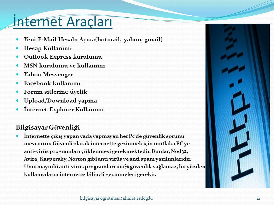 İnternet Araçları Bilgisayar Güvenliği