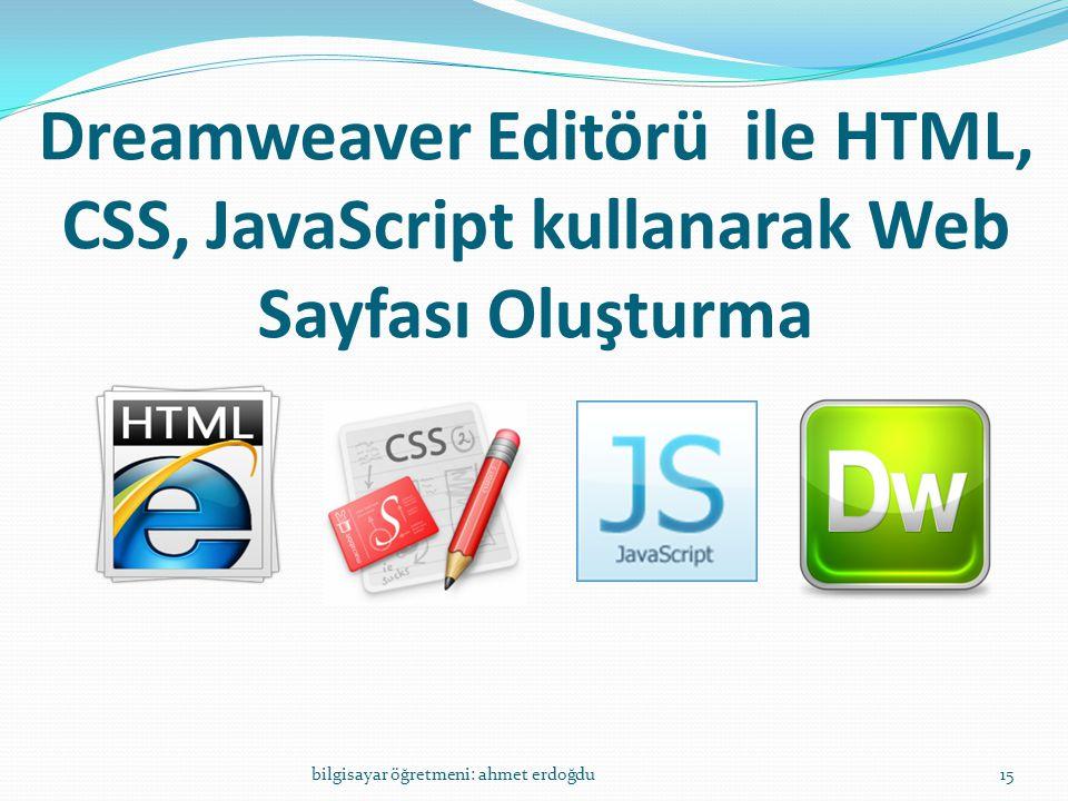 Dreamweaver Editörü ile HTML, CSS, JavaScript kullanarak Web Sayfası Oluşturma