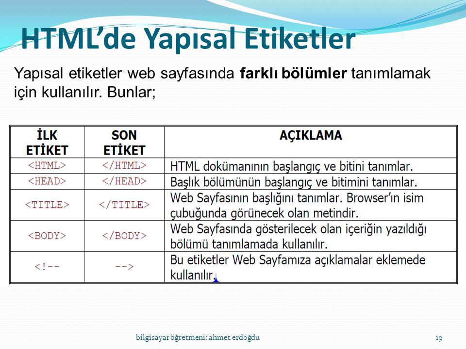 HTML'de Yapısal Etiketler