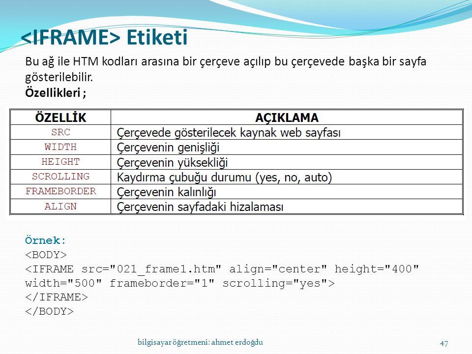 <IFRAME> Etiketi